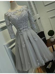 Szara sukienka koronka Midi
