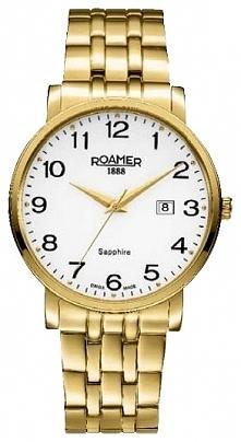 Damski zegarek szwajcarski Roamer 709856.48.26.70 złocony na bransolecie  Moż...