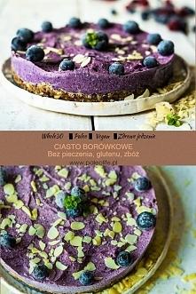 Ciasto borówkowe, bez pieczenia cukru glutenu, fit i zdrowe.
