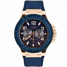 Męski zegarek Guess W0247G3 złoto niebieski Guess W0247G3 na pasku Możliwość ...