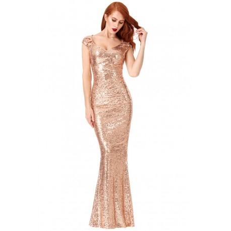 Długa złota cekinowa sukienka na sylwestra z pięknym dekoltem