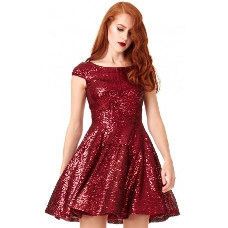 Burgundowa rozkloszowana sukienka sylwestrowa z cekinami