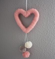 Serce z pomponami, Walentynki, Zawieszka