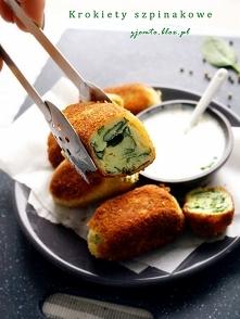 Krokiety szpinakowe Krokiety ziemniaczane z dodatkiem świeżego szpinaku, czosnku i żółtego sera. Pyszne, z mięciutkim wnętrzem i chrupiącą panierką. Jeśli macie ziemniaki pozost...