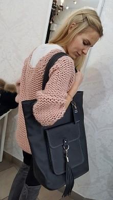 Czarna torebka skóra naturalna shopper pracownia kaletnicza Fb/ Atelier Toreb...