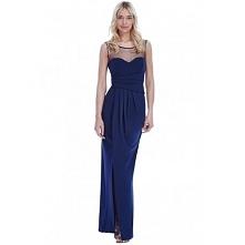 Granatowa długa sukienka wy...