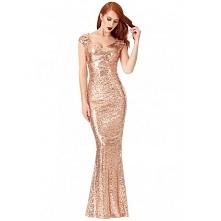 Długa złota cekinowa sukien...