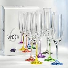 Zestaw 6 kolorowych kieliszków do szampana z serii Rainbow.