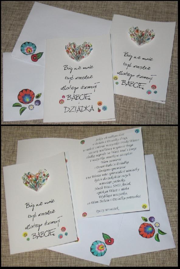 Propozycja kartki dla naszych kochanych Babć i Dziadków, format A5 z nutką łowicką.
