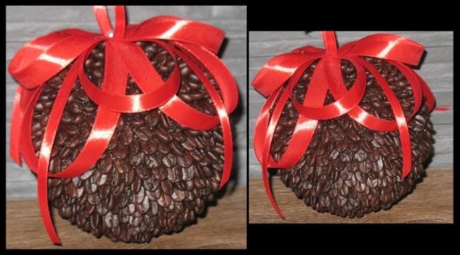 Bobka z kawy, ozdobiona dużą czerwoną kokardą, trochę przyklejania ale robi wrażenie :) średnica 10cm.