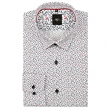Nowa wiosenna koszula już dostępna w naszych salonach! Kolorowy druk na bieli, granatowe i czerwone listki.