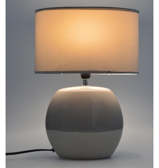 Lampa Stołowa Nocna Ceramiczna Płaska Beżowo Kremowa Klosz Na