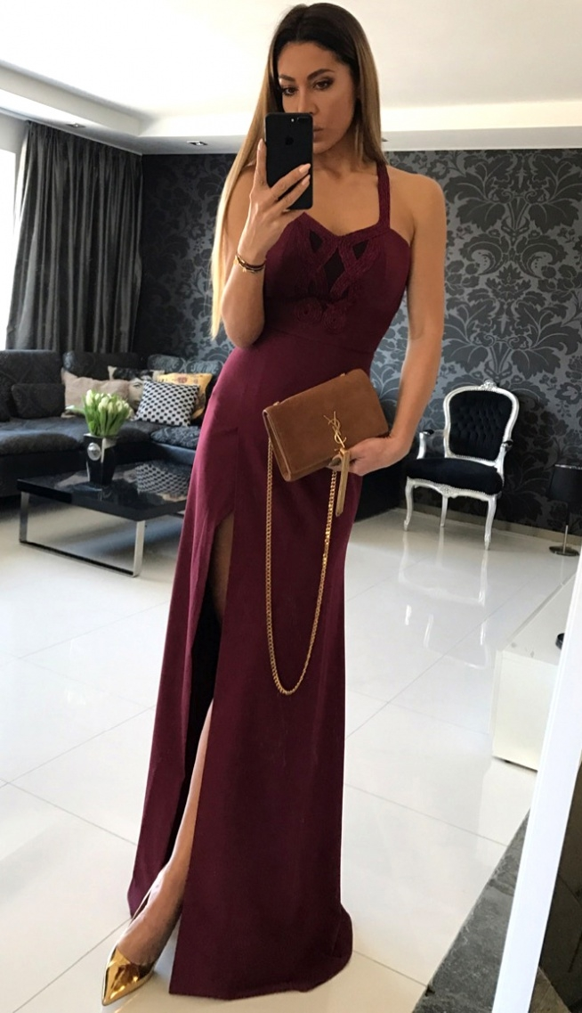 bordowa maxi suknia Illuminate cudo <3 <3 <3