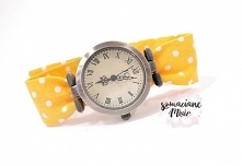 Damski zegarek w kolorze żółtym, żółty pasek. Zegarek damski - projekt autorski od Szmacianemisie.pl
