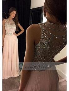 A-line Floor-length Bateau Chiffon Prom Dress With Beaded Crystal