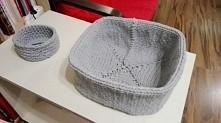 Koszyk zrobiony na drutach