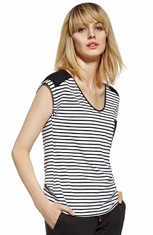 Ennywear 230086 bluzka Modna bluzka w marynarskim stylu, dekolt okrągły, delikatny krótki rękaw