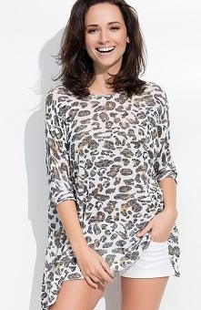 Numinou NU41 bluzka panterka Urocza bluzka damska, dostępna w rozmiarze uniwersalnym, wykonana z modnej wzorzystej dzianiny