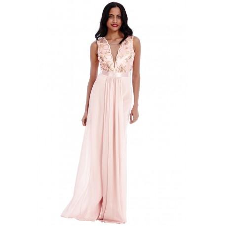 Pudrowa szyfonowa długa sukienka na wesele z głębokim dekoltem z cekinami i siateczką