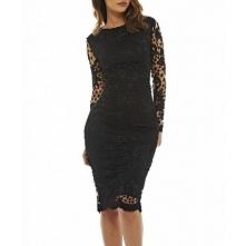 Czarna koronkowa sukienka ołówkowa midi z długim rękawkiem