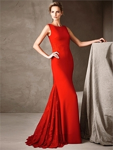 Luxurious mermaid boat neck red lace Prom Dresses PCPD0065
