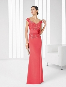 Alluring off the shoulder v-neck chiffon & lace watermelon Homecoming dre...