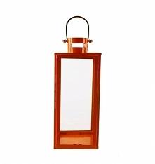 Wyszukany i oryginalny lampion metalowy w kolorze pomarańczowym. Lampion z ot...