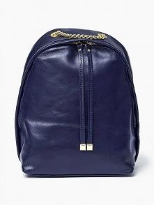 Skórzany plecak w kolorze granatowym