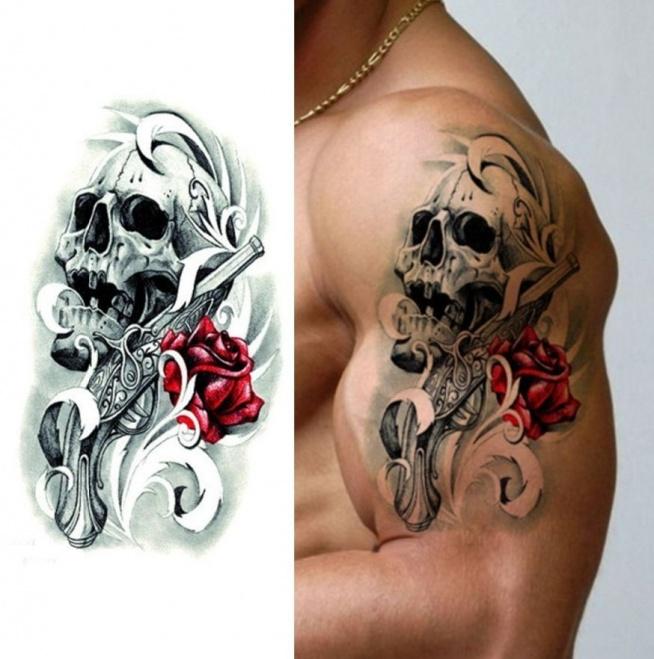 Czaszka I Róża Wzór Na Ręce Na Tatuaże Zszywkapl