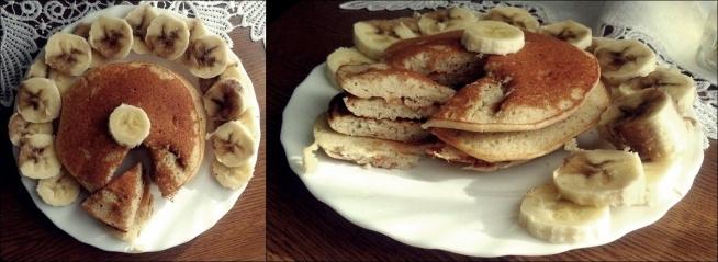 Placki bananowe ;) Idealne na śniadanie, na które powinno zjeść się więcej węglowodanów.  -Banan -Jajko -2 łyżki mąki( Ja użyłam gryczanej ponieważ jest zdrowsza i fajnie spulchnia)  -ewentualnie łyżeczka brązowego cukru lub miodu.   Wszystko razem blendujemy. Smażymy na odrobinie masła klarowanego lub oleju kokosowego pod przykryciem :)