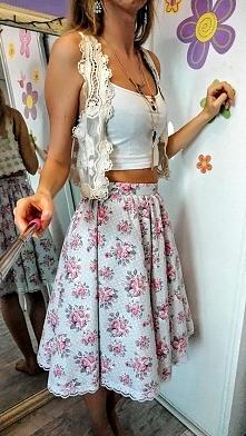 spódnica w kwiaty retro vintage