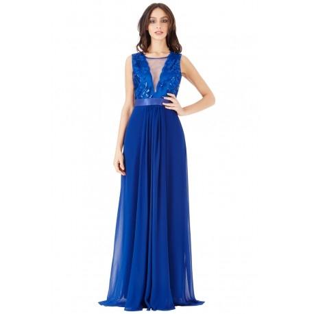 Kobaltowa szyfonowa długa sukienka na studniówkę z głębokim dekoltem z cekinami i siateczką