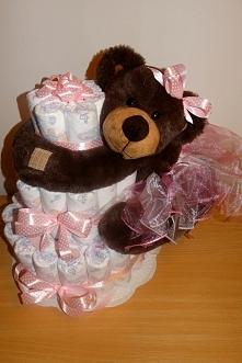 Tort z pampersów... dla dziewczynki :)