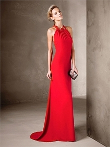 Sublime Long Flared with Halter neckline Embroidery Prom Dress PD3376