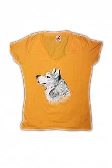 Syberian husky ręcznie malowany na koszulce :)