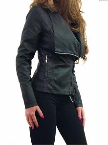 Kurtka Damska Ramoneska Skóra Duży Kołnierz Waterfall Zameczki Przeszycia Hit Wiosna 2017 model #96 Promocja w Sklepie FASHIONAVENUE.PL