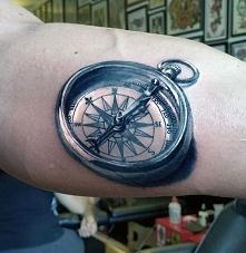 realistic compass mens tattoo