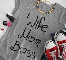 Wife Mom Boss :) Napis wykonany specjalnymi farbami do tkanin, odpornymi na s...
