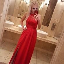 Czerwona maxi suknia Illumi...