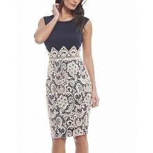 Granatowa ołówkowa sukienka midi z koronkową beżową spódnicą