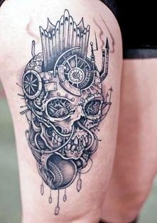 skull leg tattoo Edytuj