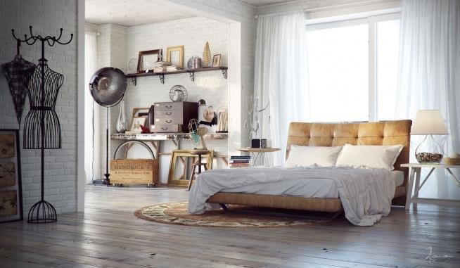 bedroom - industrial style