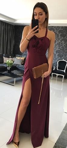 Długa bordowa suknia na wesele, sukienka dla druhny, świadkowej