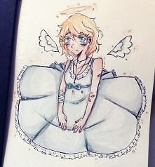 szkolny bazgrołek :3 mały, smutny aniołek, który nie pasuje do tego świata......