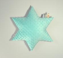 Poduszka Gwiazdka dwustronna, minky + bawełna wzorzysta. FB/ Poszyjemy Zobaczymy