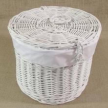 Kosz wiklinowy - kapelusznik, biały obszyty materiałem w kol. białym