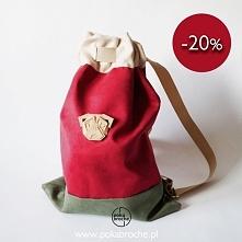 Promocja trwa do 5 marca. Plecak handmade z możliwością wymiany broszki(zwier...