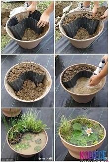 Jak prosto zrobic ogród w doniczce z wodą? Bardziej przypomina to oczko wodne w doniczce, jednak mozna wykorzystać ten sposób do stworzenia czegoś własnego :3