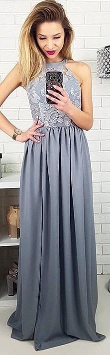 Długa szara sukienka dla druhny/ świadkowej/ na wesele.
