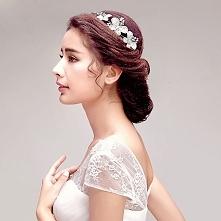 Slodkie Polysk Stroik Slubny Rhinestone Kwiat / Flower Head / Ślubne Akcesoria Do Włosów / Biżuteria Ślubna / Girlanda